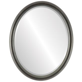 Beveled Mirror - Pasadena Oval Frame - Black Silver