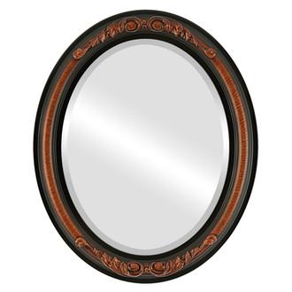 Beveled Mirror - Florence Oval Frame - Vintage Walnut
