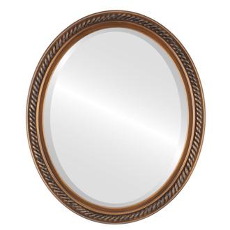 Beveled Mirror - Santa Fe Oval Frame - Sunset Gold