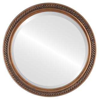 Beveled Mirror Mirror - Santa Fe Circle Frame - Sunset Gold