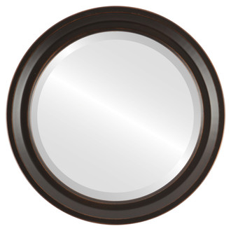 Beveled Mirror - Newport Round Frame - Rubbed Bronze