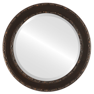 Beveled Mirror - Monticello Round Frame - Rubbed Bronze