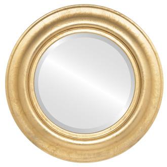 Beveled Mirror - Lancaster Round Frame - Gold Leaf