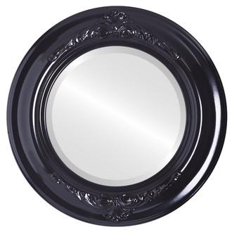 Beveled Mirror - Winchester Round Frame - Gloss Black