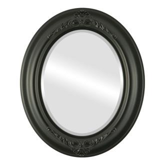 Beveled Mirror - Winchester Oval Frame - Matte Black