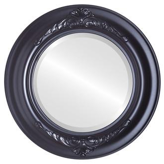 Beveled Mirror - Winchester Round Frame - Matte Black