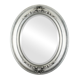 Beveled Mirror - Winchester Oval Frame - Silver Leaf with Black Antique