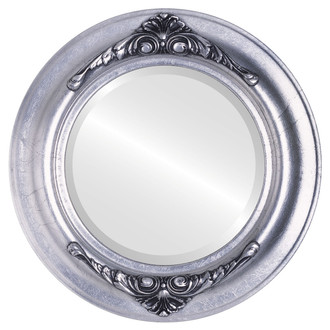 Beveled Mirror - Winchester Round Frame - Silver Leaf with Black Antique