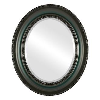 Beveled Mirror - Somerset Oval Frame - Hunter Green