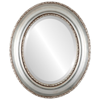 Beveled Mirror - Somerset Oval Frame - Silver Leaf with Brown Antique