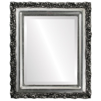 Beveled Mirror - Venice Rectangle Frame - Silver Leaf with Black Antique