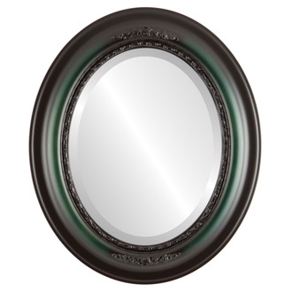 Beveled Mirror - Boston Oval Frame - Hunter Green