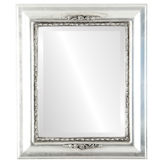 Beveled Mirror - Boston Rectangle Frame - Silver Leaf with Black Antique