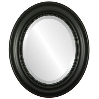 Beveled Mirror - Heritage Oval Frame - Matte Black