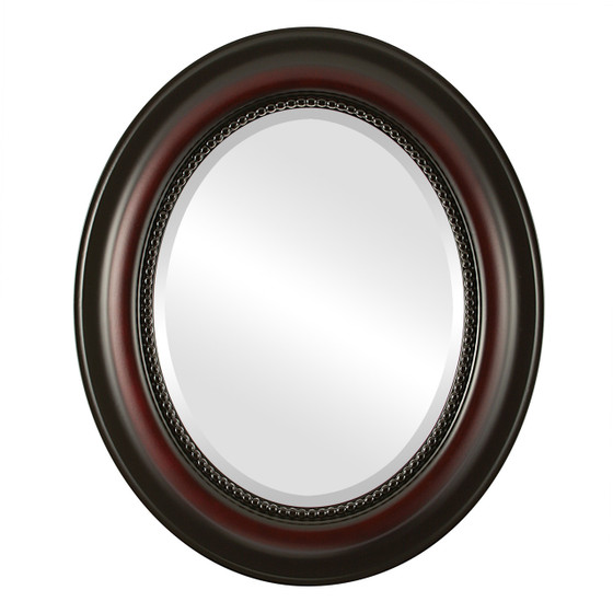 Beveled Mirror - Heritage Oval Frame - Rosewood