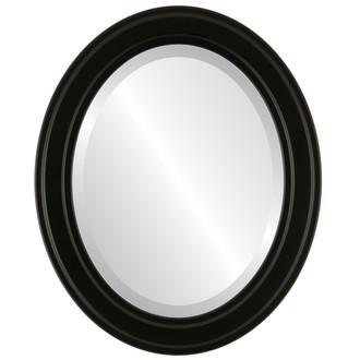 Beveled Mirror - Wright Oval Frame - Matte Black