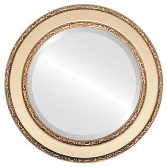 Beveled Mirror - Monticello Round Frame - Gold Spray