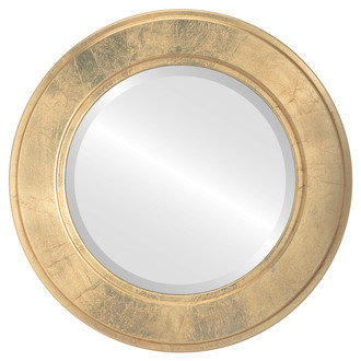 Beveled Mirror - Montreal Round Frame - Gold Leaf