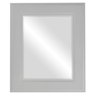 Beveled Mirror - Montreal Rectangle Frame - Linen White