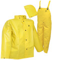 DuraScrim™ Suit - Yellow - 3 Piece Suit - Jacket - Storm Fly Front - Detachable Hood - Snap Fly Front Overall