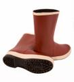 "Neoprene Snugleg Boot - Brick Red Upper - Brown Sole - Ht. 12½"" - Plain Toe - Chevron Outsole"