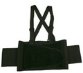 Back Support Belt, Black, Attached Suspenders