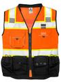 Premium Black Surveyors Vest, Orange