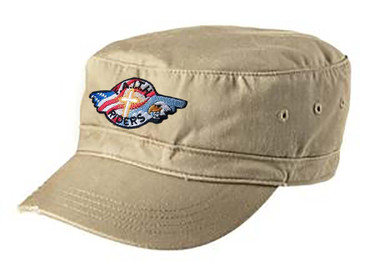 Distressed military style cap