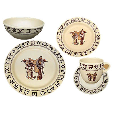 Boots \u0026 Saddle Western Dinnerware Place Setting 5 pieces  sc 1 st  Crazy Horse West & Western Dinnerware | Crazy Horse West | Cowboy Kitchen