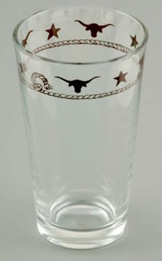Ropes, Stars and Longhorns Western Water / Iced Tea Glasses - 20 oz (Set of 4)