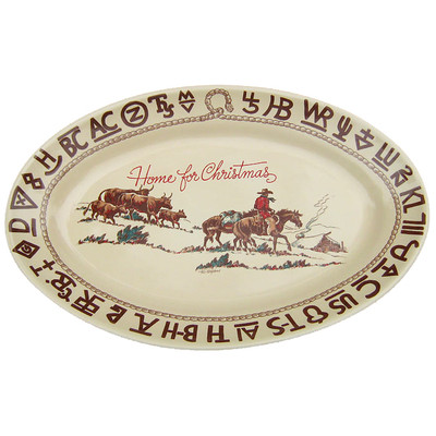 Western Dinnerware Christmas Cowboy Serving Platter Oval 16-inch