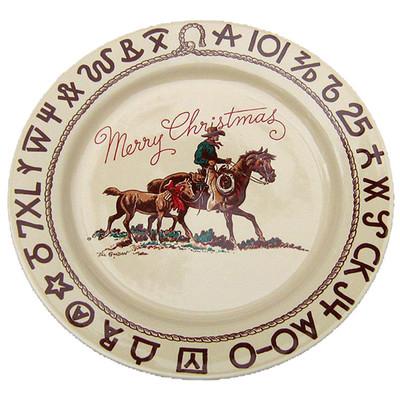 Western Dinnerware Christmas Cowboy Dinner Plate 11-inch