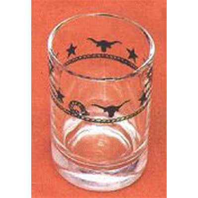 Ropes, Stars and Longhorns Western Style Texas Shot Glasses - 3 oz. (Set of 4)