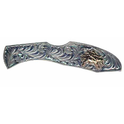 Western Cowboy Knife Silver with Bareback Rider