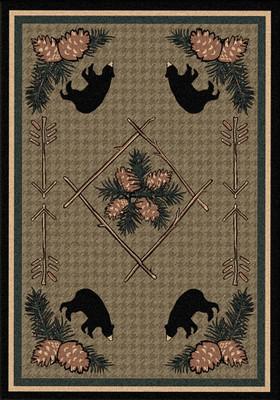 Pine Cone Bears - Green - 5'x8'