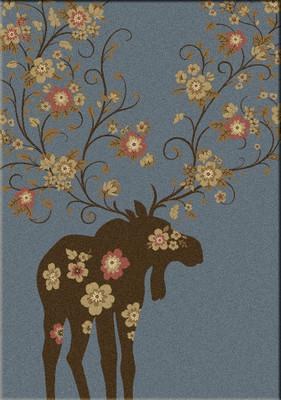 Moose Blossom - Blue - 5'x8'