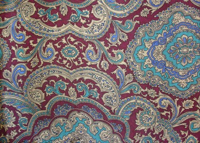 Wild Rag Silk Scarf 42 Inch Paisley Red/Gold