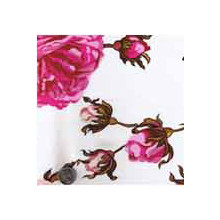 Wild Rag Charmeuse Prints Pink Roses On White