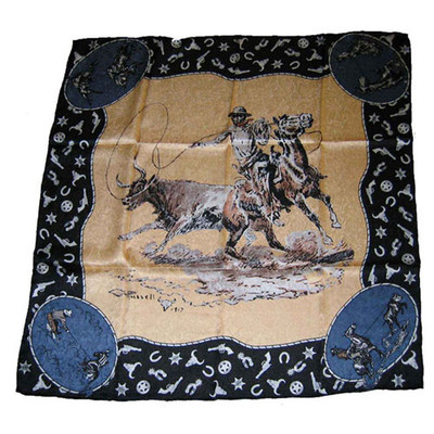 Wild Rag Silk Scarf Limited Edition CM Russel Tan
