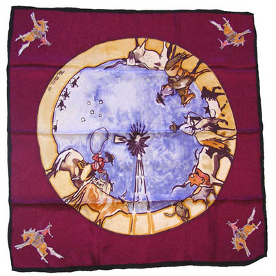 Wild Rag Silk Scarf Limited Edition Windmill Raspberry