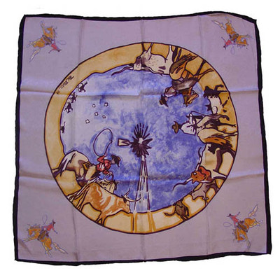 Wild Rag Silk Scarf Limited Edition Windmill Silver