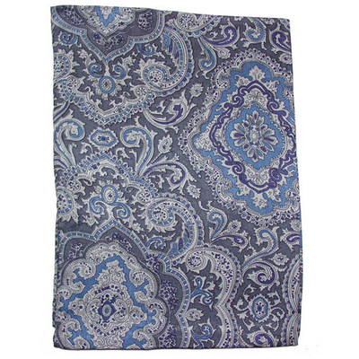 Wild Rag Silk Scarf Paisley Blue/Silver