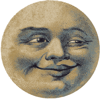 Moon Face 6' Round Rug