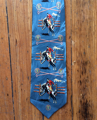 Blue Broncs & Brands Silk Tie