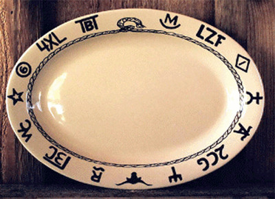 Branded Oval Serving Platter - 14u0027u0027 & Western Dinnerware | Crazy Horse West | Cowboy Kitchen