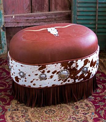 Longhorn Hair On Ottoman
