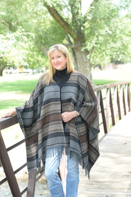 Charcoal Serape Fringe Cape