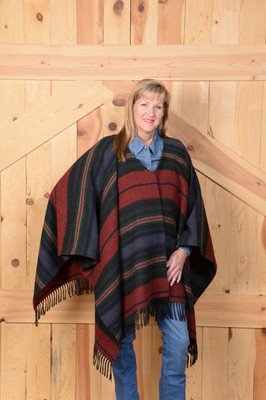 Serape Fringe Cape - Navy