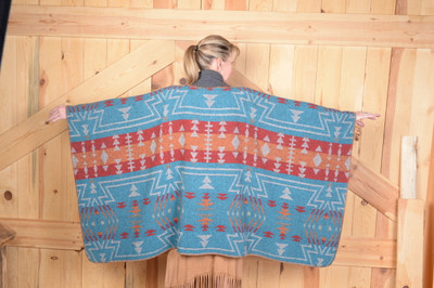 Turquoise Zuni Blanketstitch Cape
