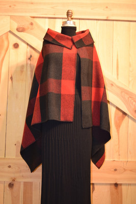 Red Buffalo Plaid Asymmetrical Cape